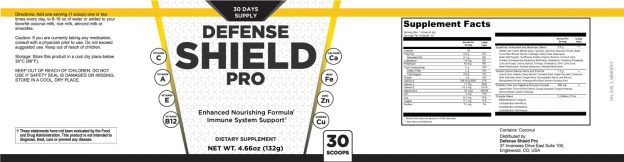 Defense Shield Pro Supplement Facts